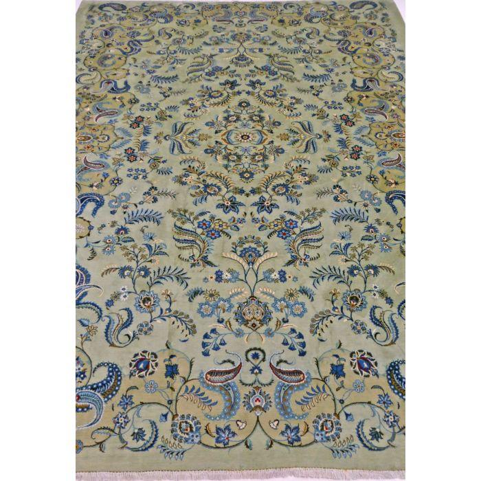"https://www.armanrugs.com/ | 10' 2"" x 12' 10"" Green Kashan Handmade Wool Authentic Persian Rug"