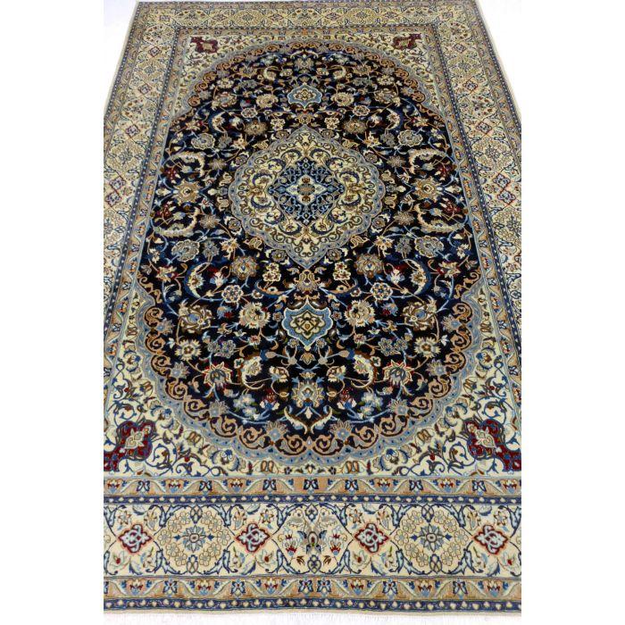 "https://www.armanrugs.com/ | 6' 9"" x 10' 0"" NavyBlue Nain Handmade Wool-Silk Authentic Persian Rug"