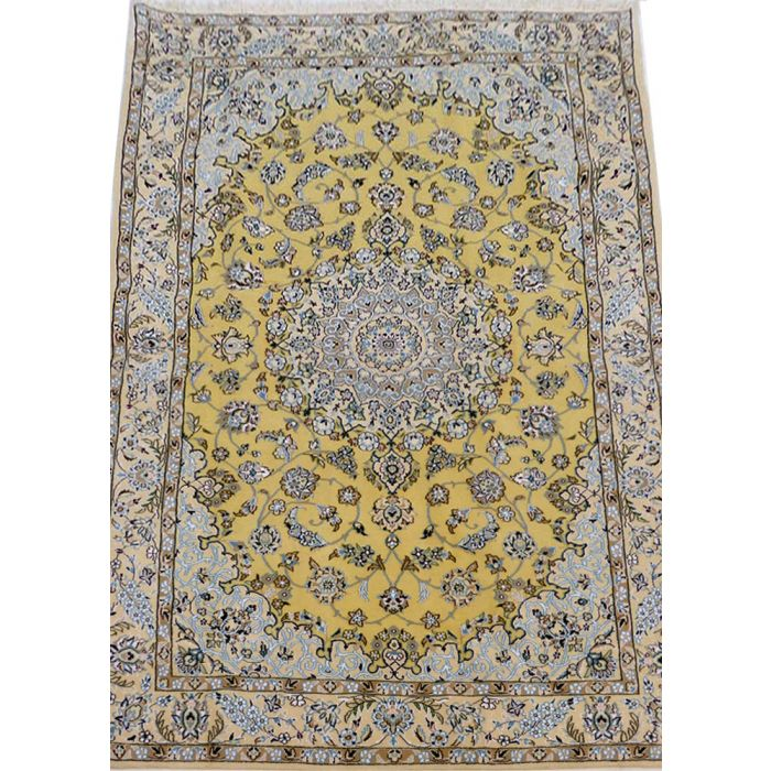 "https://www.armanrugs.com/   4' 8"" x 7' 5"" Yellow Nain Handmade Wool Authentic Persian Rug"