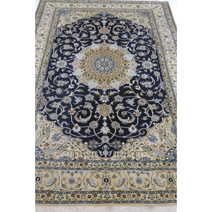 "https://www.armanrugs.com/ | 8' 2"" x 11' 2"" NavyBlue Nain Handmade Wool-Silk Authentic Persian Rug"