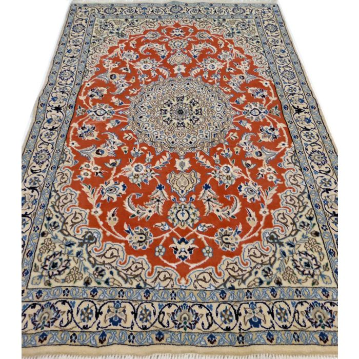 "https://www.armanrugs.com/ | 3' 11"" x 5' 11"" Peach Nain Handmade Wool Authentic Persian Rug"