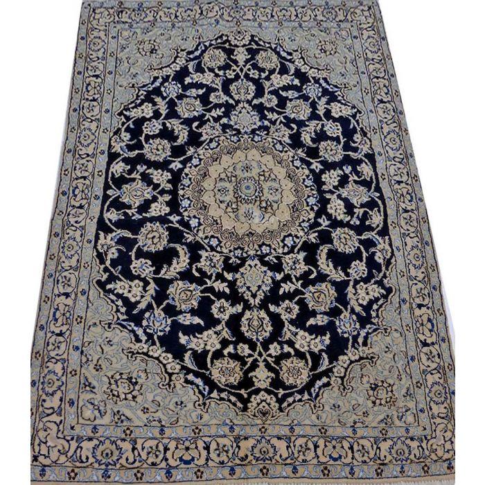 "https://www.armanrugs.com/ | 3' 7"" x 5' 8"" NavyBlue Nain Handmade Wool Authentic Persian Rug"