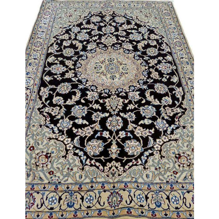 "https://www.armanrugs.com/ | 3' 11"" x 5' 11"" NavyBlue Nain Handmade Wool Authentic Persian Rug"