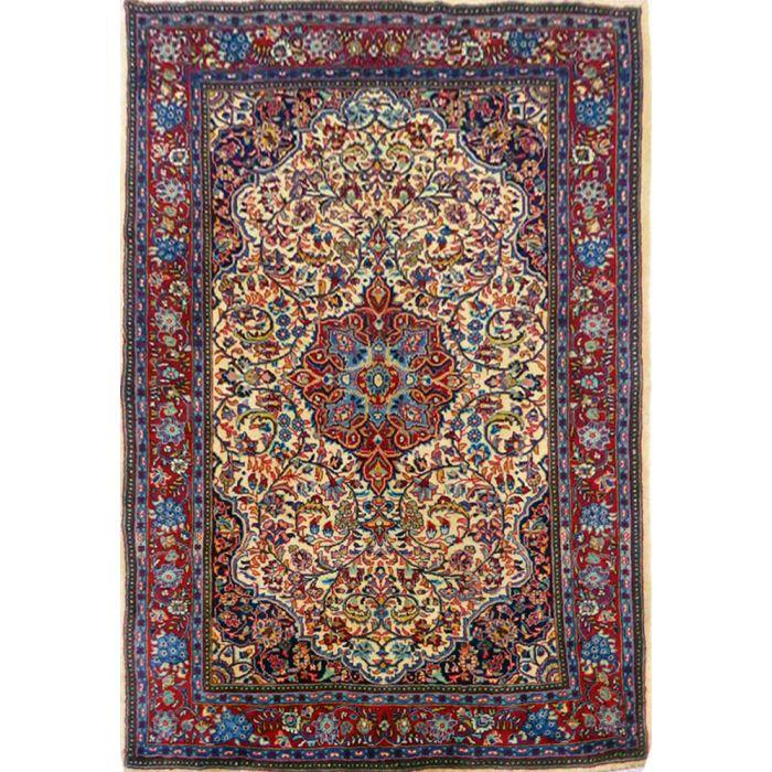 "https://www.armanrugs.com/ | 4' 3"" x 6' 7"" Beige Sarough Handmade Wool Authentic Persian Rug"