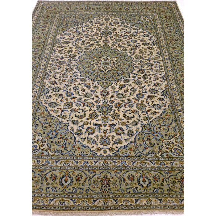 "https://www.armanrugs.com/ | 8' 6"" x 11' 3"" Sage Green Kashan Handmade Wool Authentic Persian Rug"