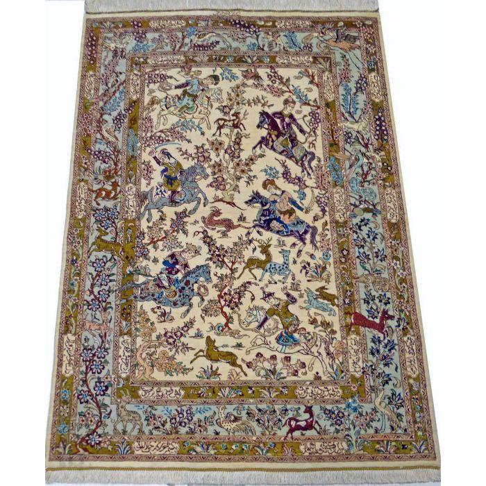 "https://www.armanrugs.com/ | 3' 3"" x 4' 11"" Beige Qom Handmade Silk Authentic Persian Rug"