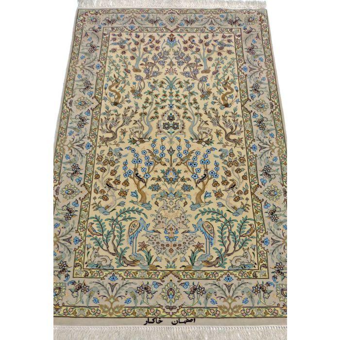 "https://www.armanrugs.com/ | 3' 6"" x 5' 2"" Beige Esfahan Handmade Wool-Silk Authentic Persian Rug"