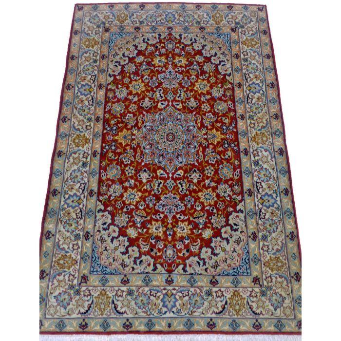 "https://www.armanrugs.com/   3' 5"" x 5' 1"" Red Esfahan Handmade Wool-Silk Authentic Persian Rug"