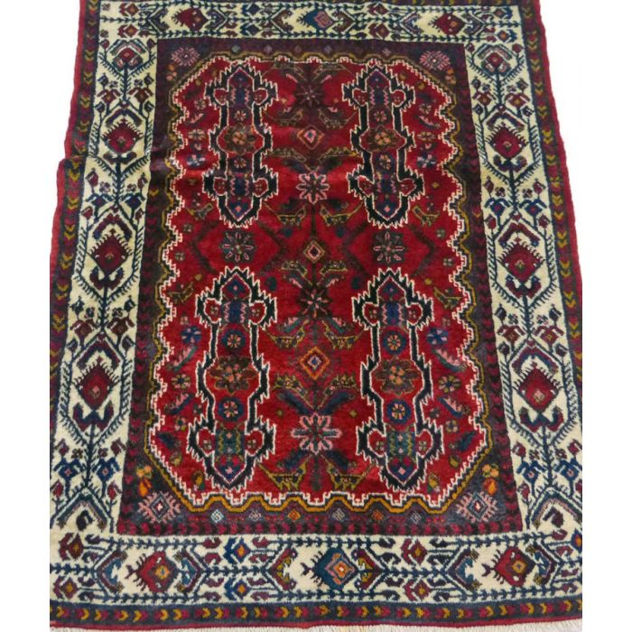 "https://www.armanrugs.com/ | 3' 10"" x 4' 10"" Red Hamadan Handmade Wool Authentic Persian Rug"