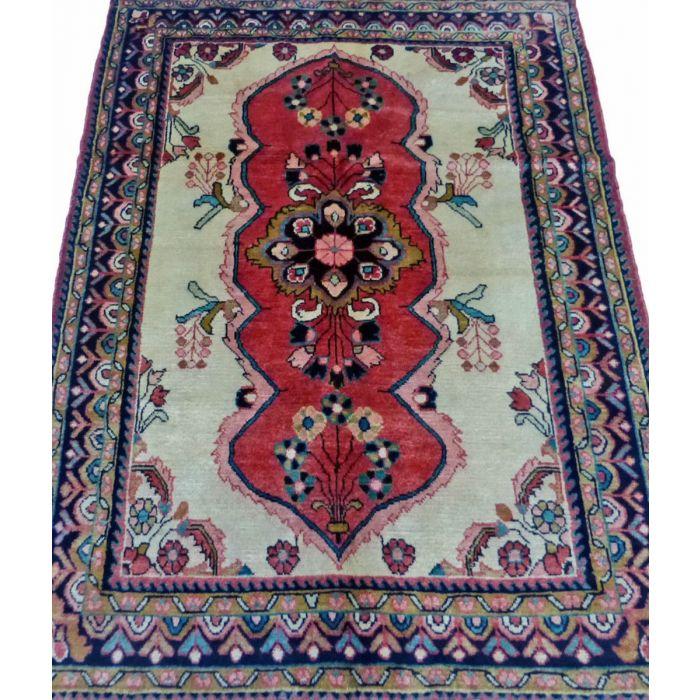 "https://www.armanrugs.com/ | 3' 5"" x 4' 7"" Red Hamadan Handmade Wool Authentic Persian Rug"