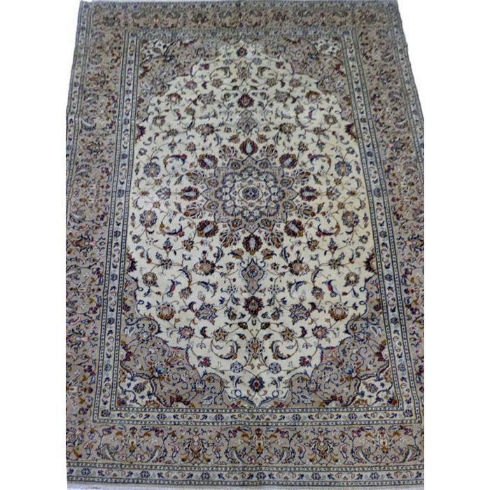 "https://www.armanrugs.com/ | 6' 5"" x 9' 9"" Beige Kashan Handmade Wool Authentic Persian Rug"