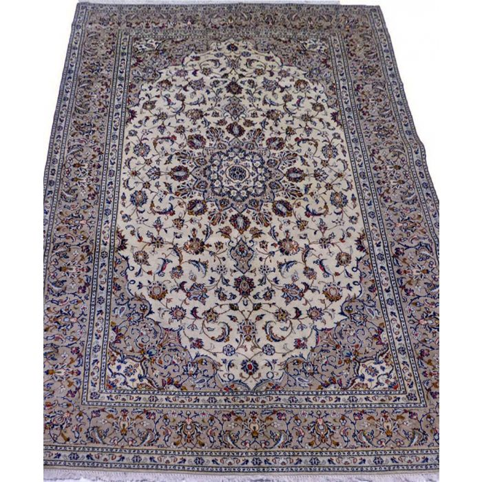 "https://www.armanrugs.com/ | 6' 7"" x 9' 10"" Beige Kashan Handmade Wool Authentic Persian Rug"