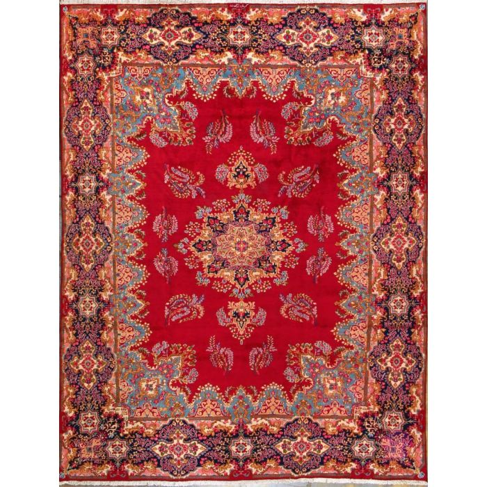 """https://www.armanrugs.com/   9' 8"""" x 12' 6"""" Red kerman Hand Knotted Wool Authentic Persian Rug"""