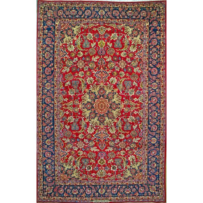 """https://www.armanrugs.com/   8' 10"""" x 13' 8"""" Red Esfahan Hand Knotted Wool Authentic Persian Rug"""