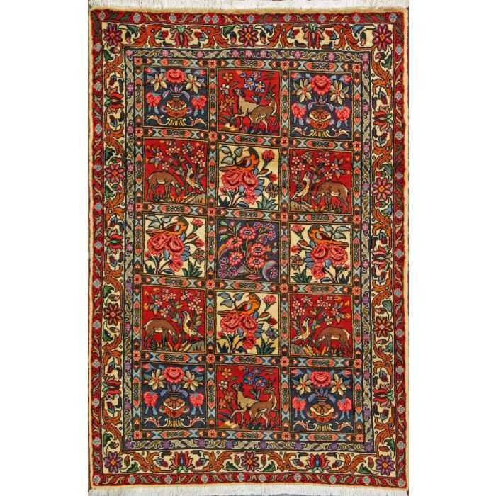 """https://www.armanrugs.com/   3' 4"""" x 4' 11"""" Red Bakhtiari Hand Knotted Wool Authentic Persian Rug"""
