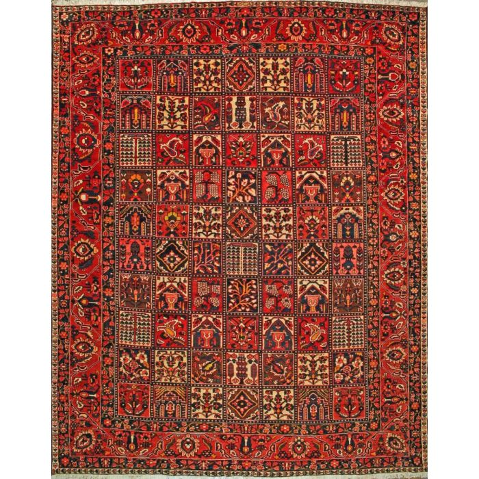 """https://www.armanrugs.com/   11' 0"""" x 13' 9"""" Red Bakhtiari Hand Knotted Wool Authentic Persian Rug"""