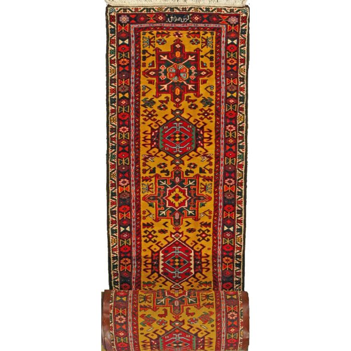"https://www.armanrugs.com/ | 2' 9"" x 36' 0"" Gold Gharajeh Hand Knotted Wool Authentic Persian Rug"