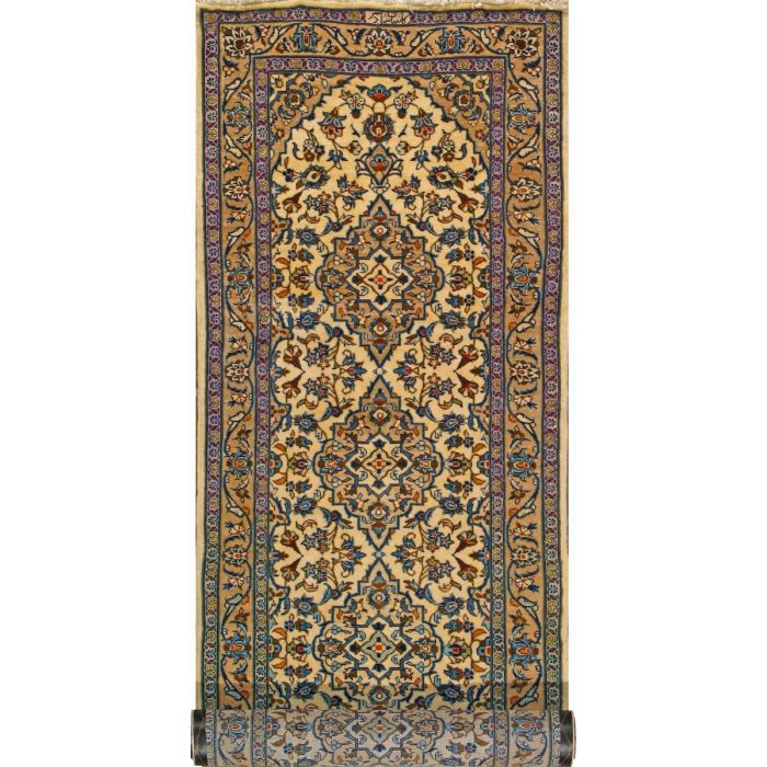 "https://www.armanrugs.com/ | 3' 4"" x 10'   Beige Kashan Hand Knotted Wool Authentic Persian Rug"