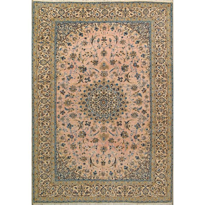 "https://www.armanrugs.com/ | 6' 7"" x 9' 10"" Peach Nain Hand Knotted Wool & Silk Authentic Persian Rug"