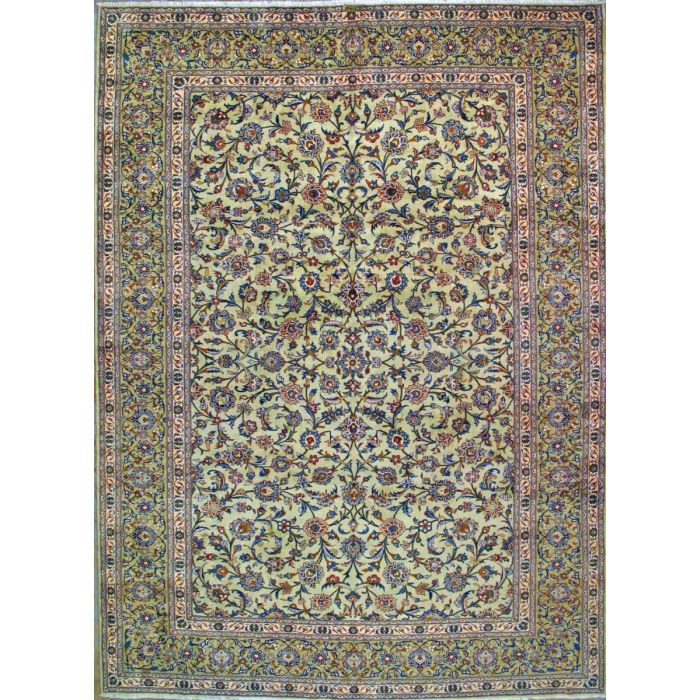 "https://www.armanrugs.com/ | 9' 8"" x 13' 1"" Green Kashan Hand Knotted Wool Authentic Persian Rug"