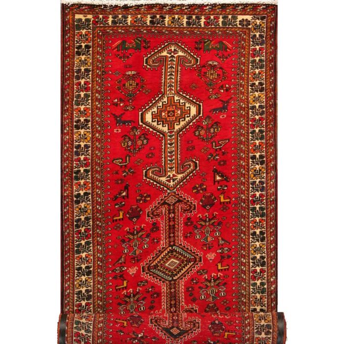 "https://www.armanrugs.com/| 3' 7"" x 10' 6"" Red Abadeh Hand Knotted Wool Authentic Persian Rug"